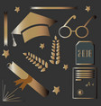 graduation package rich gold design golden icons vector image