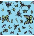 Green and purple insects seamless pattern vector image