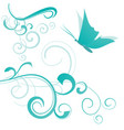 green butterfly and flourishes isolated on white vector image