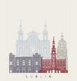 Lublin skyline poster vector image