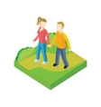 Couple Walk in Park Design Flat vector image