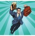 Beer man superhero flying vector image