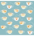 Cute tea cups seamless pattern vector image