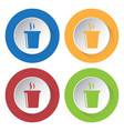 four round color icons hot fastfood drink smoke vector image