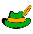 green hat with a feather icon icon cartoon vector image