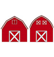 two designs of barn in red colors vector image