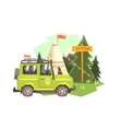 Green suv Parked Nest To The Camp Site vector image vector image