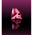 Pink diamond with reflection vector image