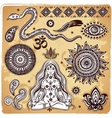 Set of ornamental Indian elements and symbols vector image vector image