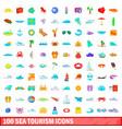 100 sea tourism icons set cartoon style vector image