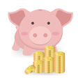 Piggy Bank And Stacks of Money Coins vector image
