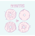 Set of Hand drawn donuts isolated in Sweet vector image