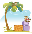 Tropical Landscape With Palm Tree and Suitcases vector image