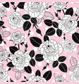 vintage black and pink roses and leaves on vector image