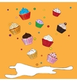 Fancy Sketchy Cupcakes background vector image