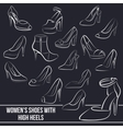 Set of women s shoes with high heels painted vector image