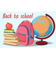 back to school stack of books with apple on top vector image