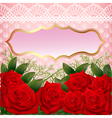 background with red roses and lace vector image