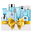 blue cosmetics with golden bow vector image