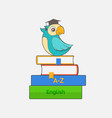 parrot in graduation cap sits on a stack of books vector image