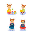 superhero girl reading playing going to school vector image