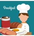breakfast chef cooking delicious egg bread vector image