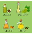 4 cooking oils in cute sketchy bottles vector image