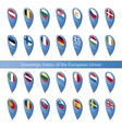 Pins flags of the European Union vector image