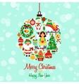 Christmas icons ball shape vector image