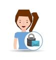 girl cartoon email envelope data vector image