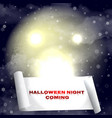 halloween background with moon and snowfall vector image