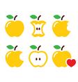 Yellow apple apple core bitten half icon vector image