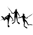 set of diver silhouettes vector image vector image