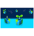 Potted Seedling plant and astrology sign in sky vector image vector image