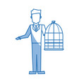 man holding a cage bird empty veterinary concept vector image