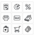 Set of Black Friday Icons Calendar Night vector image