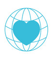 blue color silhouette of world globe and heart vector image