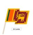 Sri Lanka Ribbon Waving Flag Isolated on White vector image