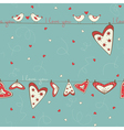 Seamless pattern with birds in love and hearts vector image vector image