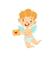 Boy Baby Cupid Delivering Love Letter Winged vector image