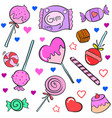 collection of candy various colorful doodles vector image