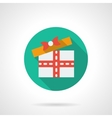 Gift delivery round flat color icon vector image