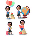 back to school cute afro-american girl is ready vector image