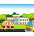 funny student with school Building and school bus vector image