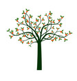 green tree and orange fruits vector image