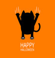 happy halloween greeting card cartoon black cat vector image