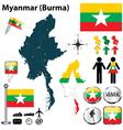Map of Myanmar vector image