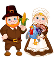 Cute Pilgrims Couple vector image vector image