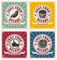 Vintage food posters collection vector image