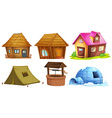 Different kinds of shelters vector image vector image